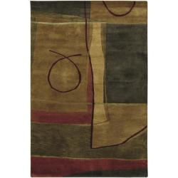 Hand-knotted Brown/Red Floral Contemporary Charlotte Semi-worsted New Zealand Wool Abstract Area Rug - 8' x 10' - Thumbnail 0