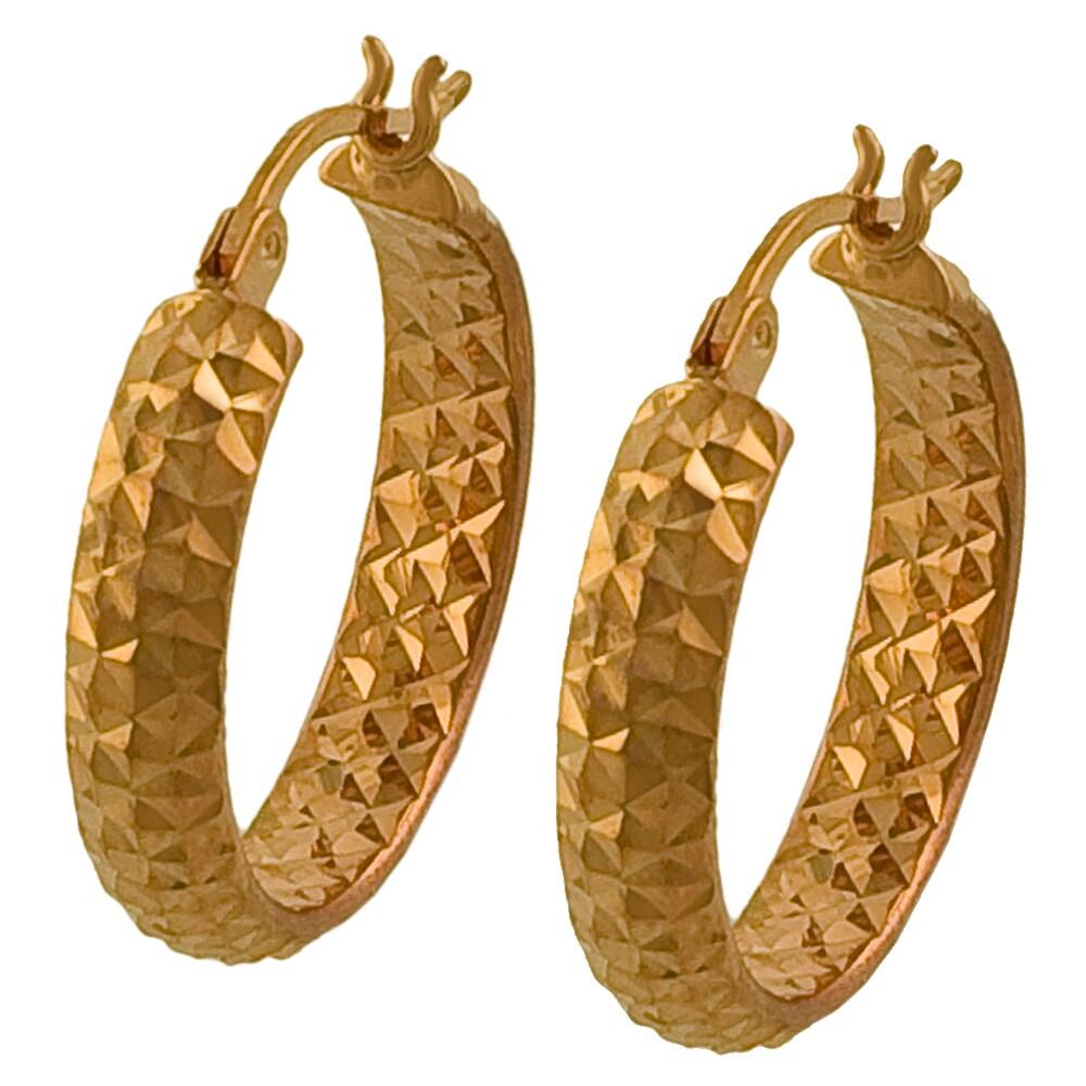 Fremada 14k Rose Gold 20-mm Diamond-cut Hoop Earrings