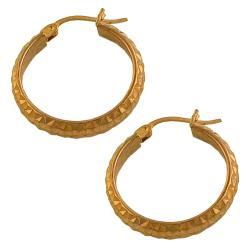 Fremada 14k Rose Gold 20-mm Diamond-cut Hoop Earrings - Thumbnail 1