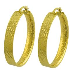 Fremada 14k Yellow Gold 35-mm Brushed Flat Hoop Earrings