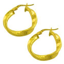 14k Yellow Gold Greek Design Twist Hoop Earrings
