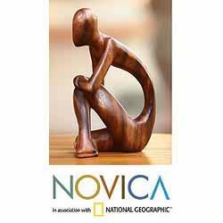 Suar Wood 'Alone' Sculpture, Handmade in Indonesia