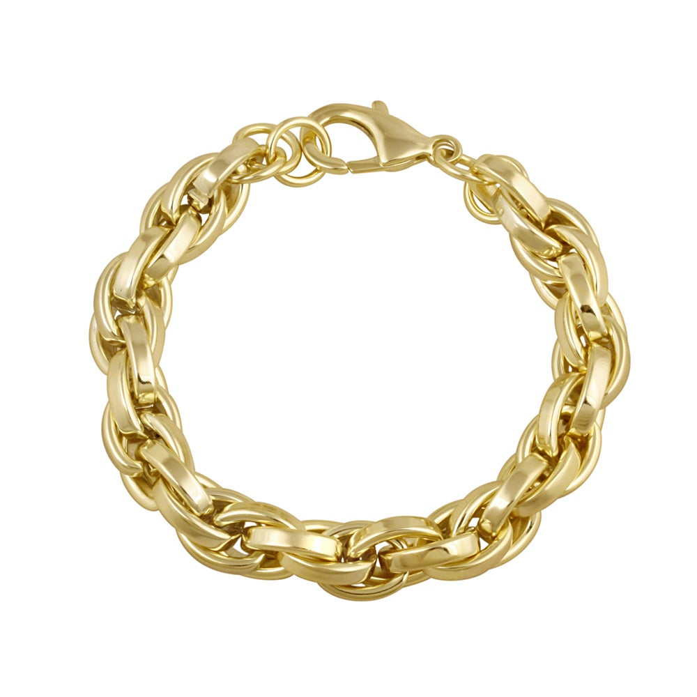 Mondevio 18k Gold over Stainless Steel Cable Chain Bracelet