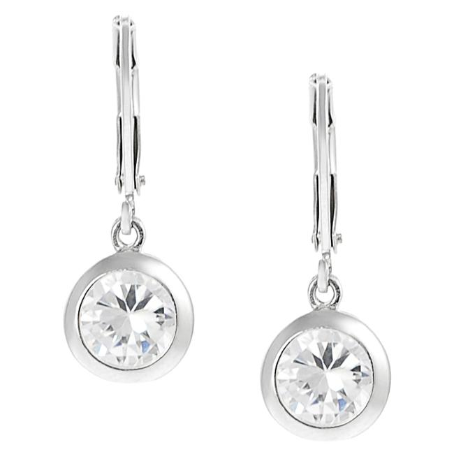Journee Collection Silvertone Round-cut CZ Leverback Earrings