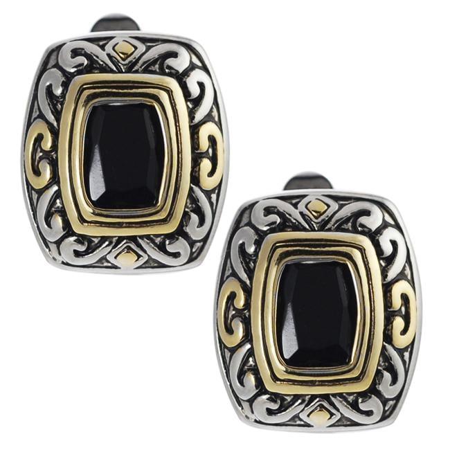 Two-tone Black Cubic Zirconia Ornate Clip-on Earrings