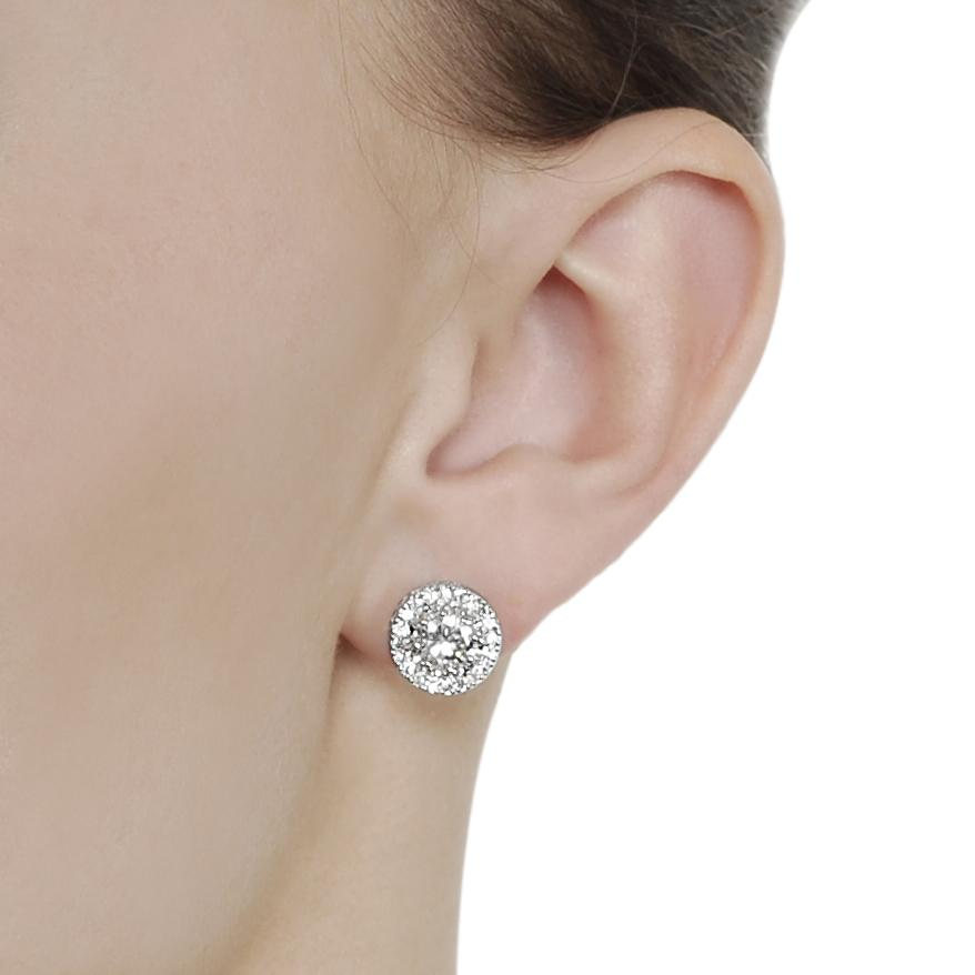 Silvertone Round-cut Cubic Zirconia Stud Earrings - Thumbnail 2