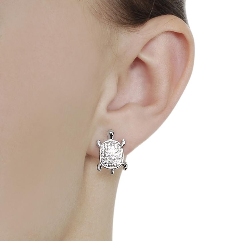 Journee Collection Silvertone Pave-set CZ Turtle Earrings - Thumbnail 2