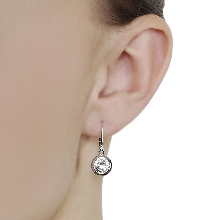 Journee Collection Silvertone Roundcut Cz Leverback Earrings   Thumbnail 2