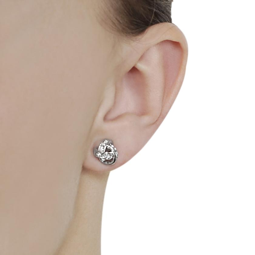 Journee Collection Silvertone Pave-set CZ Knot Earrings