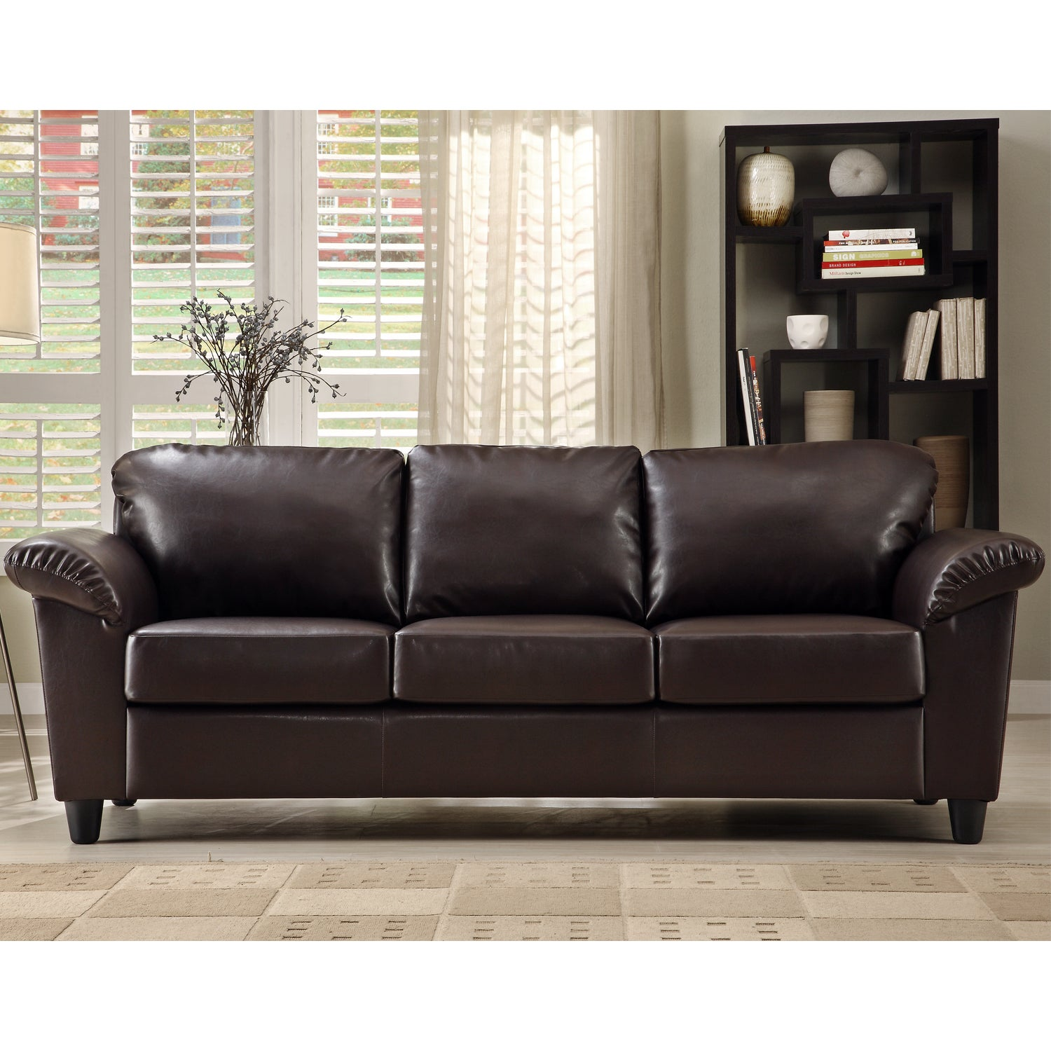 Insten Lucia Dark Brown Faux Leather Sofa Free Shipping
