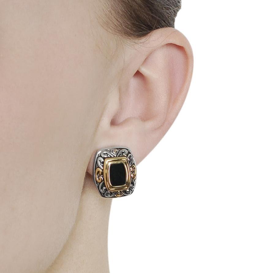 Two-tone Black Cubic Zirconia Ornate Clip-on Earrings - Thumbnail 2