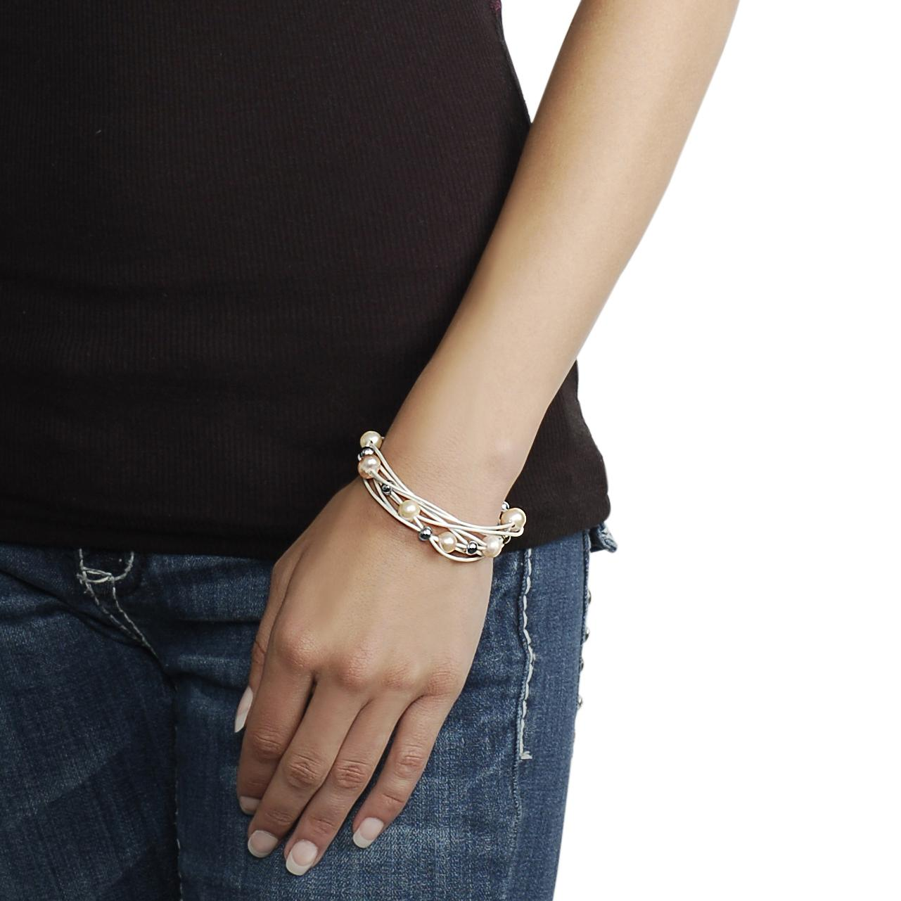 Stainless Steel Bead and Faux Pearl Multi-strand White Bracelet