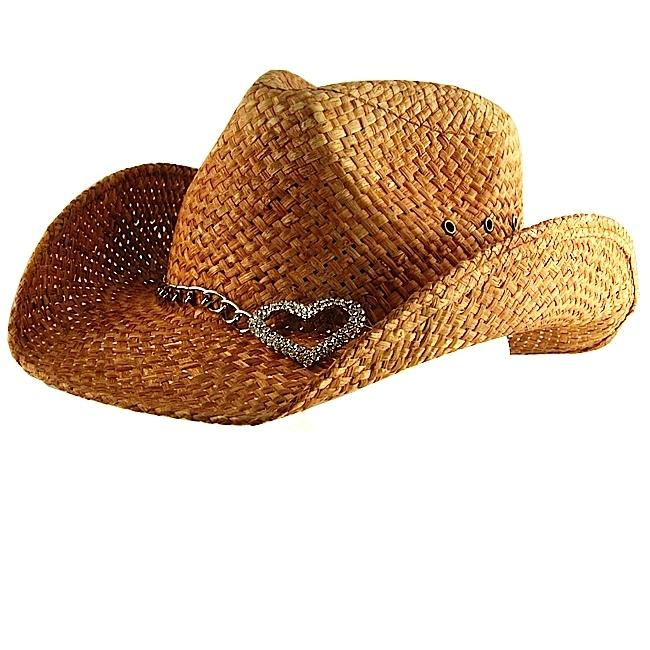 929382d92 Peter Grimm Women's Brown Heart Attack Straw Cowboy Hat