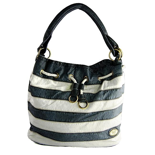 H2W Navy/White Striped Faux Leather Drawstring Tote Bag