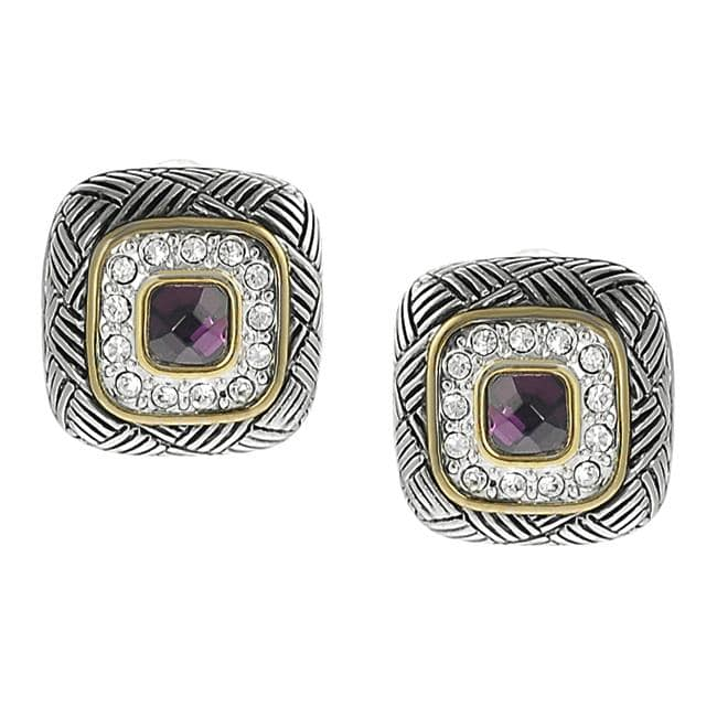 Journee Collection Two-tone Cushion-cut Pave-set CZ Earrings