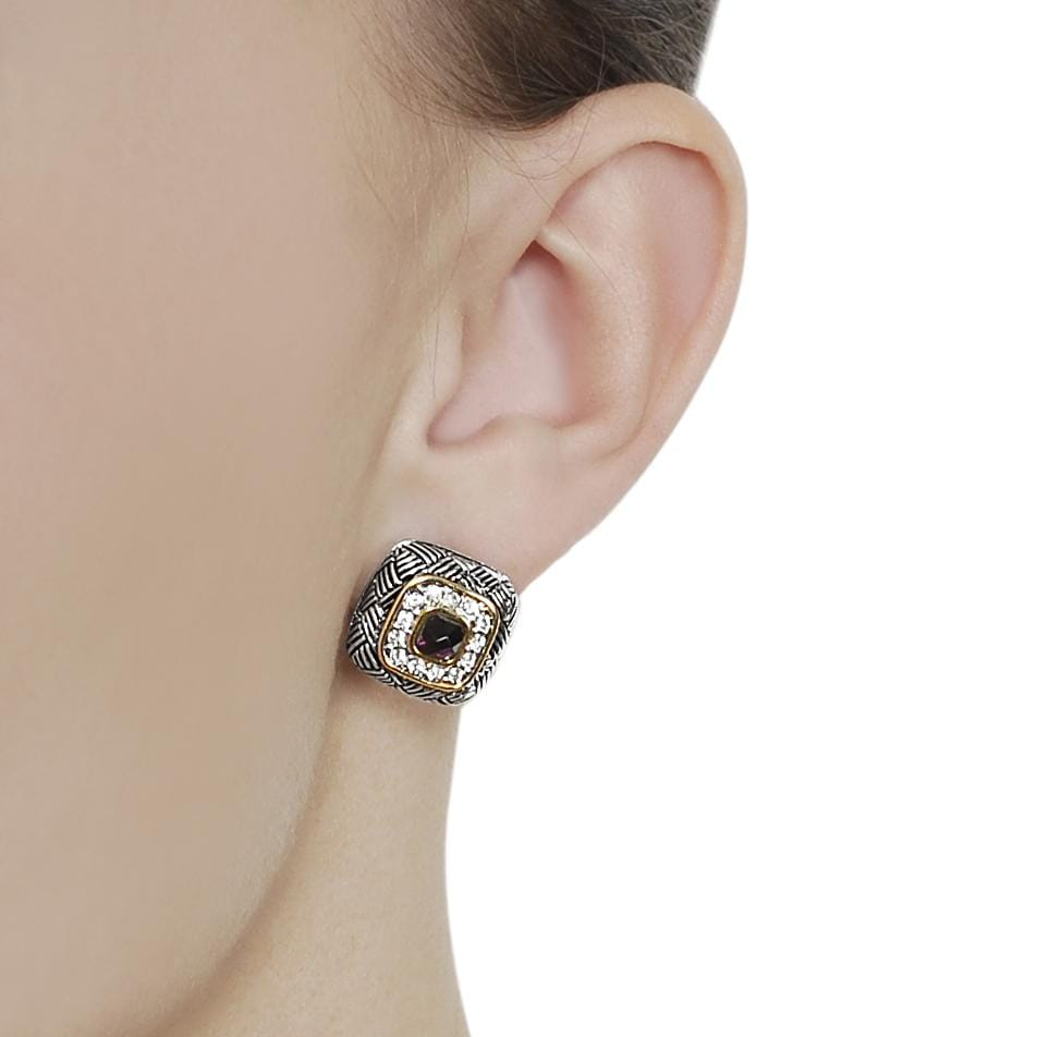 Journee Collection Two-tone Cushion-cut Pave-set CZ Earrings - Thumbnail 2