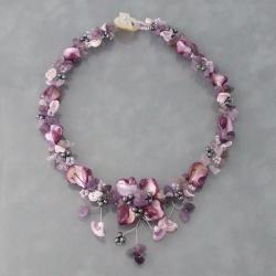 Handmade Purple Amethyst and Shells Hidden Floral Necklace (Philippines)