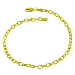 Fremada 14k Yellow Gold 7.75-inch Textured Charm Bracelet