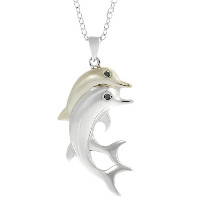 Journee Collection Two-tone Black CZ Dolphin Necklace
