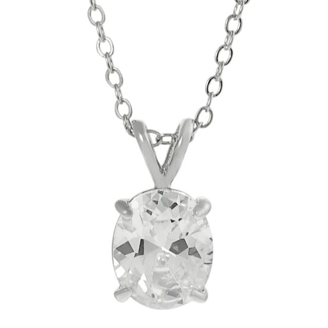 Journee Collection Silvertone Oval-cut Cubic Zirconia Necklace