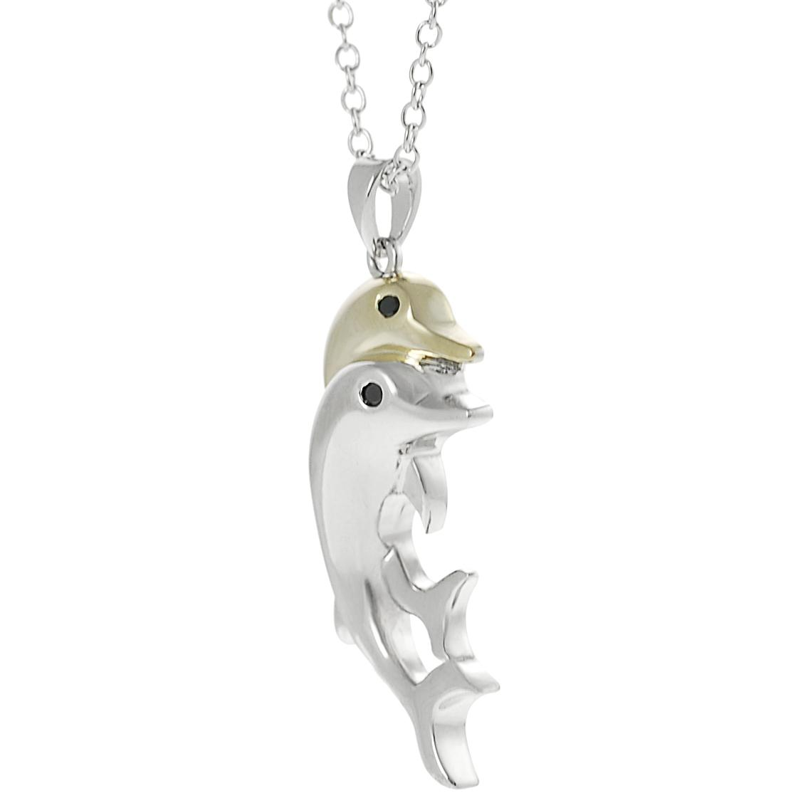 Journee Collection Two-tone Black CZ Dolphin Necklace - Thumbnail 1
