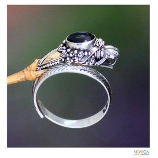 Handmade Sterling Silver 'Dragon' Onyx Ring (Indonesia)