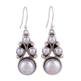 Cloud Castle Perfect Bridal Romantic Round White Freshwater Pearls 925 Sterling Silver Womens Long Dangle Earrings (India)