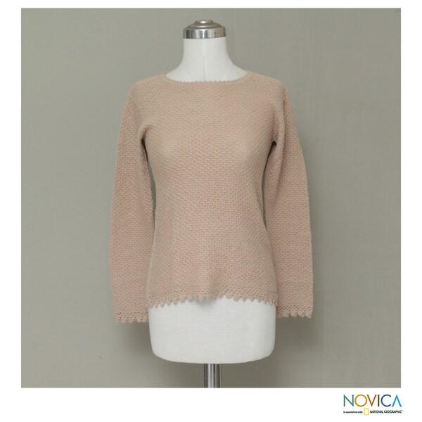 Alpaca 'Honeycomb Lace' Sweater (Peru)