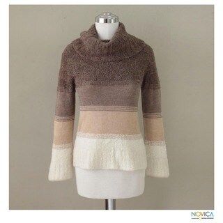 Handmade Alpaca 'Cuzco Winter' Turtleneck Sweater (Peru)