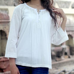 Handmade Cotton 'Mandala White' Tunic (India)