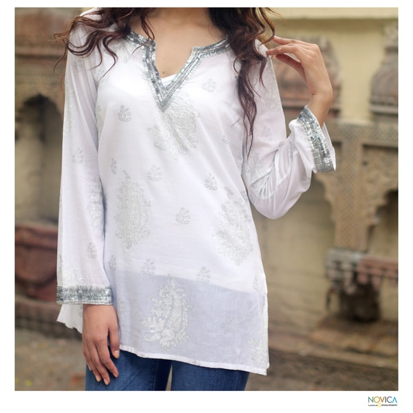Cotton 'Paisley Whisper' Beaded Tunic (India)