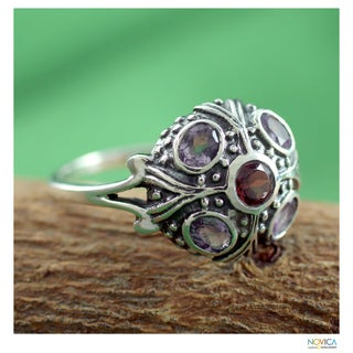 Handmade Sterling Silver 'Enthralling Jaipur' Amethyst and Garnet Ring (India)