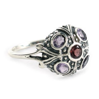 Handmade Sterling Silver 'Enthralling Jaipur' Amethyst and Garnet Cocktail Ring Made In India