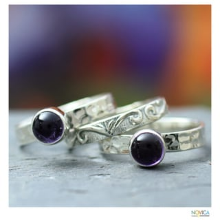 Handmade Set of 3 Sterling Silver 'Mystic Muse' Amethyst Rings (India)