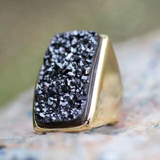 Gold Overlay 'Night Goddess' Drusy Agate Ring (Brazil)