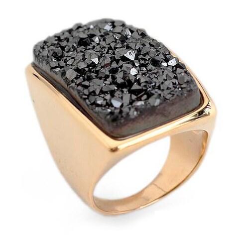 Handmade Gold Overlay 'Night Goddess' Drusy Agate Ring (Brazil)