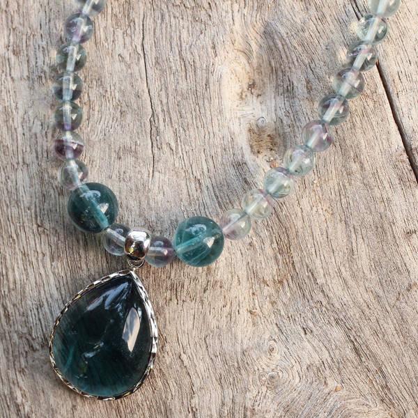 Handmade Sterling Silver 'Blue Genie' Fluorite Necklace (Thailand)