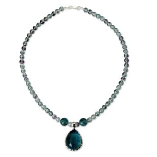 Sterling Silver 'Blue Genie' Fluorite Necklace (Thailand)