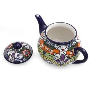 Ceramic 'Guanajuato Flora' Talavera Tea Pot (Mexico)