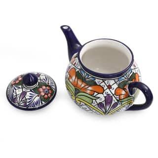 Handmade Ceramic 'Guanajuato Flora' Talavera Tea Pot (Mexico)|https://ak1.ostkcdn.com/images/products/7500043/P14942322.jpg?impolicy=medium