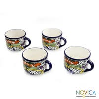 Handmade Set of 4 Ceramic 'Guanajuato Flora' Talavera Coffee Cups (Mexico)