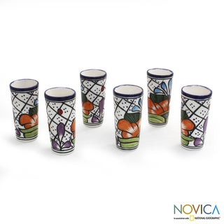 Handmade Set of 6 Ceramic 'Guanajuato Flora' Talavera Shot Glasses (Mexico)