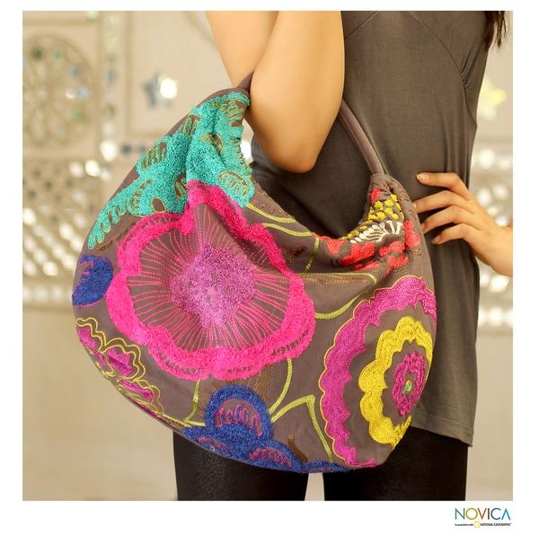 Cotton 'Festive Flowers' Hobo Handbag (India)