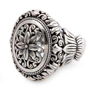 Sterling Silver 'Precious Lotus' Ring (Indonesia)