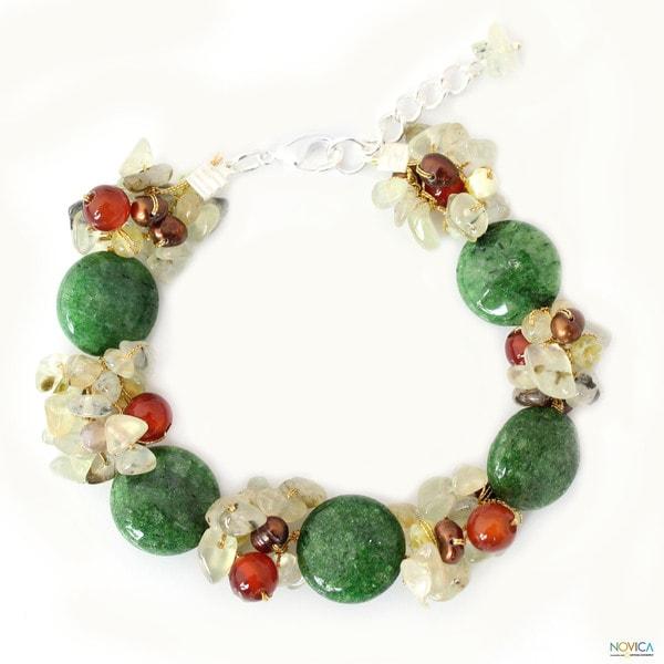 Handmade Multi-gemstone 'Peony Romance' Pearl Bracelet (3.5-4 mm) (Thailand)