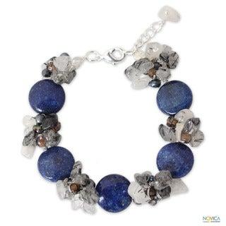 Multi-gemstone 'Blue Peony Romance' Pearl Bracelet (4 mm) (Thailand)