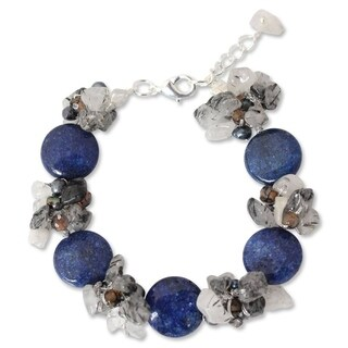 Handmade Multi-gemstone 'Blue Peony Romance' Pearl Bracelet (4 mm) (Thailand)