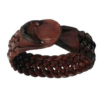 Handmade Leather Men's 'Bangkok Weave' Bracelet (Thailand)
