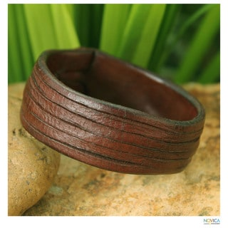 Handcrafted Leather 'Many Rivers' Bracelet (Thailand)