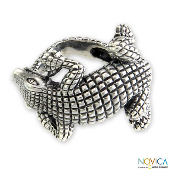 Handmade Sterling Silver 'Baby Crocodile' Ring (Indonesia)